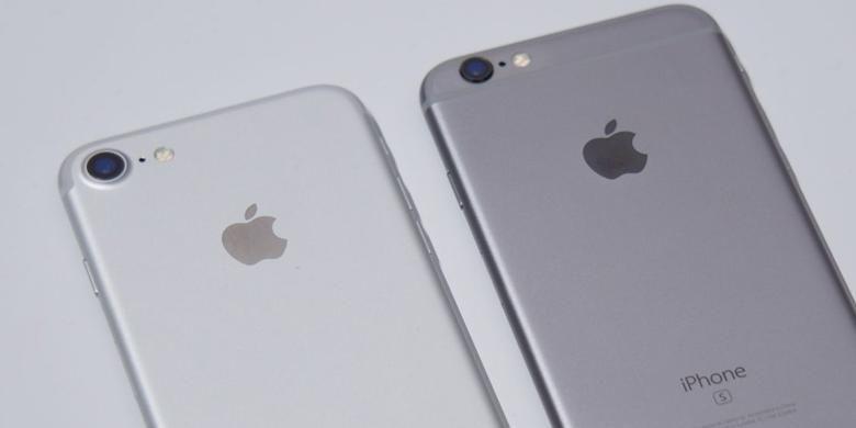 iPhone 7 dan 6S tampak belakang terlihat memiliki perbedaan pada garis antena.