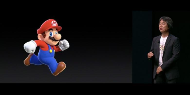 Desainer game Nintendo Shigeru Myamoto saat tampil dalam acara peluncuran iPhone 7 dan iPhone 7 Plus (7/9/2016)