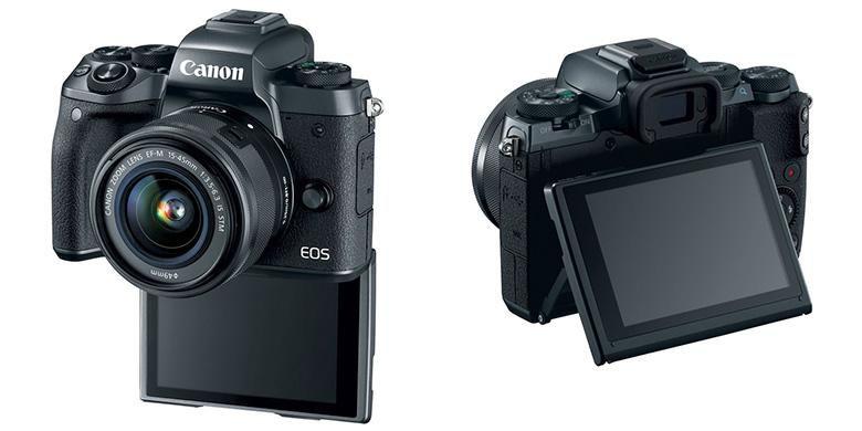 Layar LCD Canon EOS M5 dapat ditekuk ke arah atas dan bawah