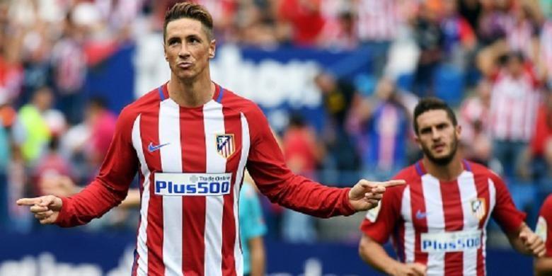 Fernando Torres mencetak brace pertamanya pada periode kedua di Atletico Madrid saat menghadapi Sporting Gijon, Sabtu (17/9/2016).