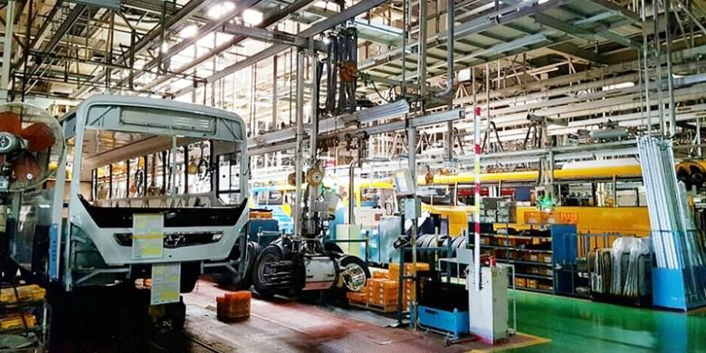 Pabrik perakitan mobil Hyundai di Jeonju, Korea Selatan.