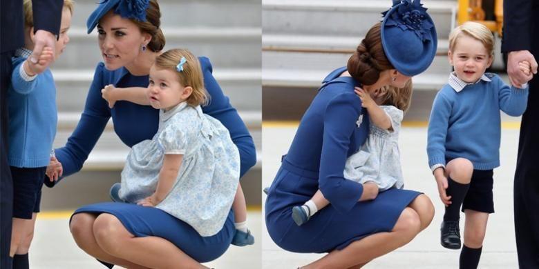 Kate Middleton bicara dengan Pangeran George sembari jongkok dan berlutut.