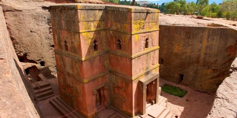 Gereja St. George, situs warisan dunia UNESCO, Lalibela, Ethiopia.