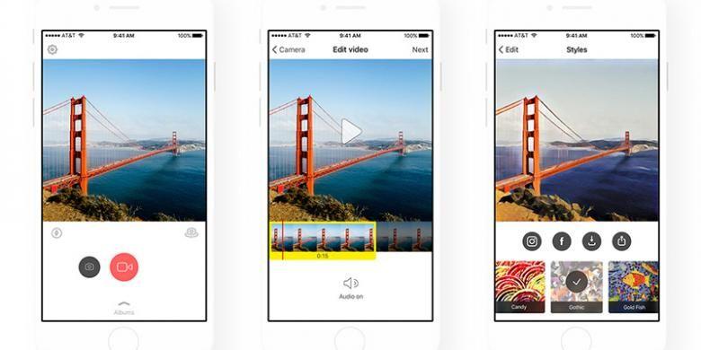 Tampilan aplikasi Prisma terbaru di iOS yang mendukung video. Ada tombol baru untuk merekam video, letaknya persis di samping tombol untuk mengambil foto.