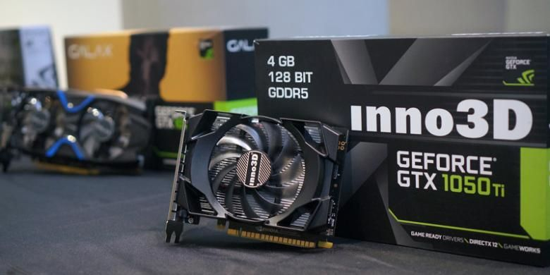 Salah satu kartu grafis berbasis GPU GeForce GTX 1050 yang dibawa oleh Nvidia dalam acara perkenalan di Jakarta, minggu lalu.