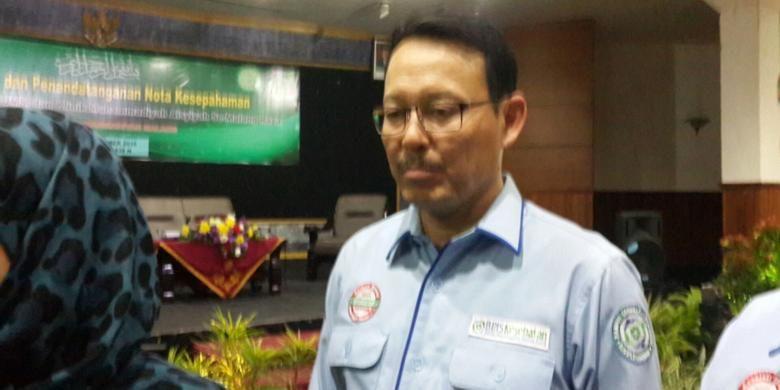 Direktur Utama BPJS Kesehatan Fahmi Idris usai mengisi kuliah tamu di Universitas Muhammadiyah Malang, Jawa Timur, Kamis (20/10/2016)