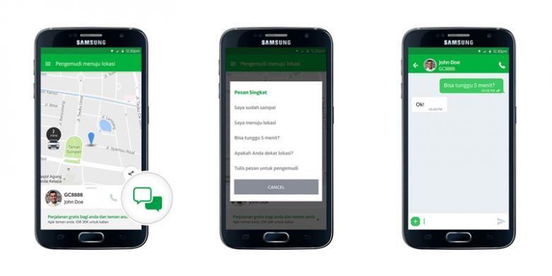 Tampilan GrabChat di dalam aplikasi Grab