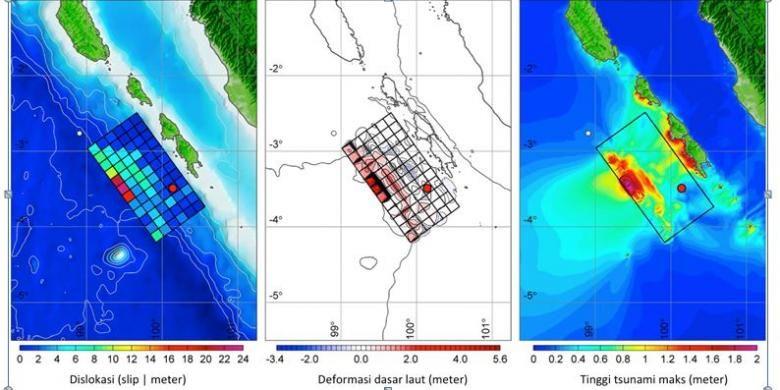 Distribusi dislokasi, deformasi, penjalaran tsunami dan tinggi tsunami maksimum akibat gempa Mentawai 2010
