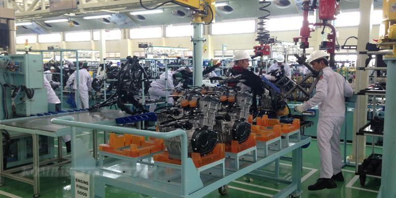Line produksi Honda CBR250RR di pabrik Karawang, Jawa Barat.