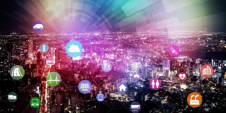 Ilustrasi smart city sebagai pengaplikasian internet of things.