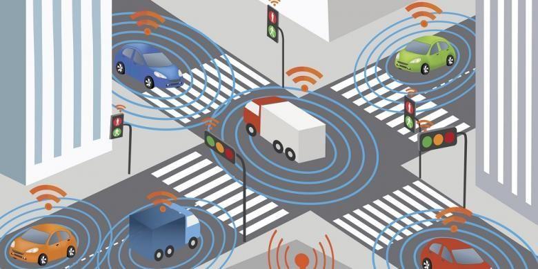 Ilustrasi pengaplikasian internet of things dimana alat transportasi terhubung dengan internet.