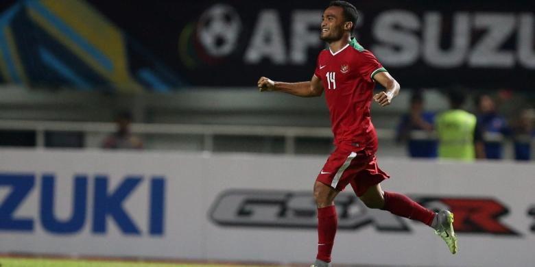 Rizky Pora gembira merayakan keberhasilan mencetak gol ke gawang Thailand pada semifinal pertama Piala AFF 2016 di Stadion Pakansari, Rabu (14/12/2016).
