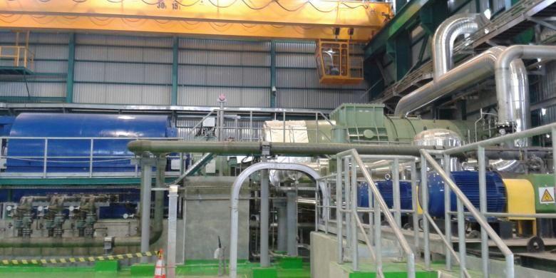 Turbin pembangkit listrik dari uap geothermal di PLTP Lahendong unit 5 dan 6 di Tompaso, Kabupaten Minahasa, Sulawesi Utara.