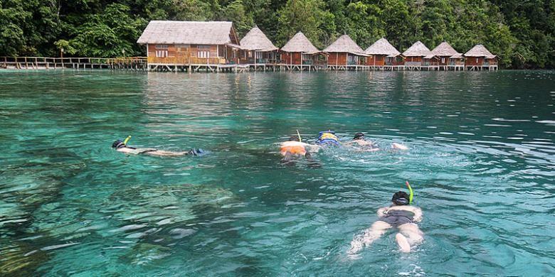 Pengunjung menikmati snorkeling di perairan dangkal tak jauh dari pondok Ora Beach Resort, Desa Saleman, Kecamatan Seram, Maluku Tengah, Maluku.