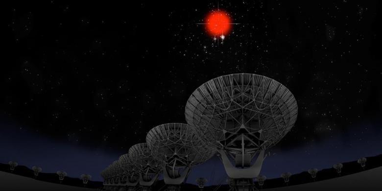 Ilustrasi sinyal misterius dari antariksa, FRB.