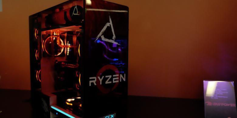 Seperangkat lengkap komputer yang menggunakan prosesor Ryzen dipamerkan di Ryzen Tech Days, San Francisco, Selasa (21/2/2017)