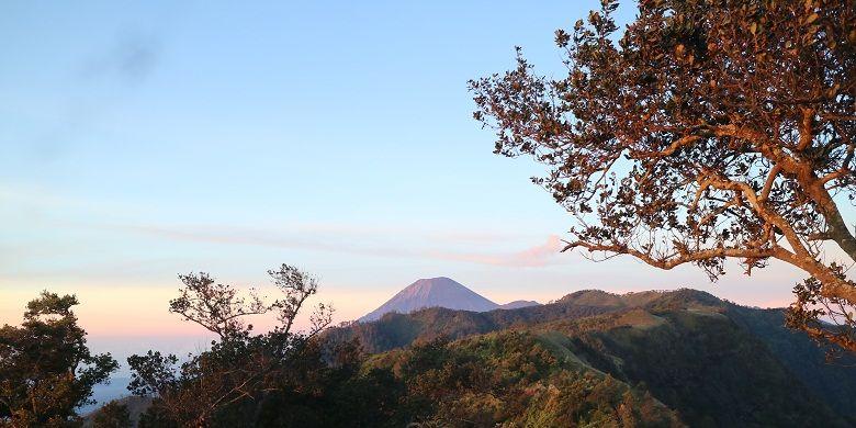 Pemandangan Gunung Semeru dari Puncak B29, Desa Argosari, Kecamatan Senduro, Kabupaten Lumajang, Jawa Timur, Selasa (11/4/2017). Puncak B29 adalah salah satu sudut untuk menikmati momen matahari terbit di Lumajang.