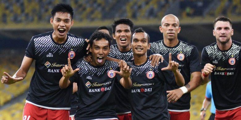 Para pemain Persija sukses merayakan kemenangan saat melawan Ratchaburi FC di Malaysia