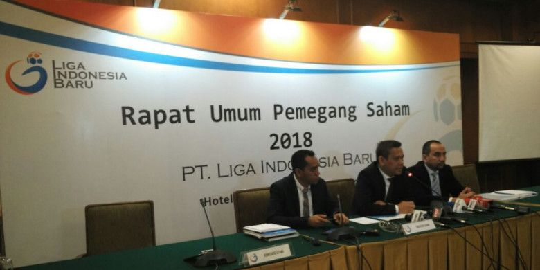 PT LIB gelar Jumpa pers Rapat Umum Pemegang Saham (RUPS) 2018 di Hotel Sultan, Jakarta, Kamis (8/3/2018).
