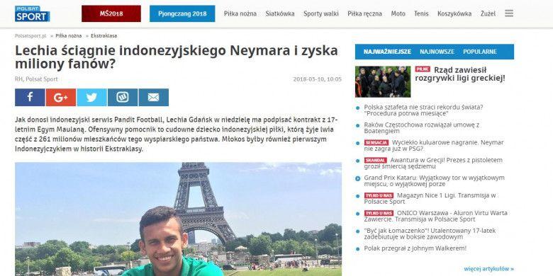 Media Polandia tak ketinggalan memberikan julukan untuk Egy Maulana Vikri.