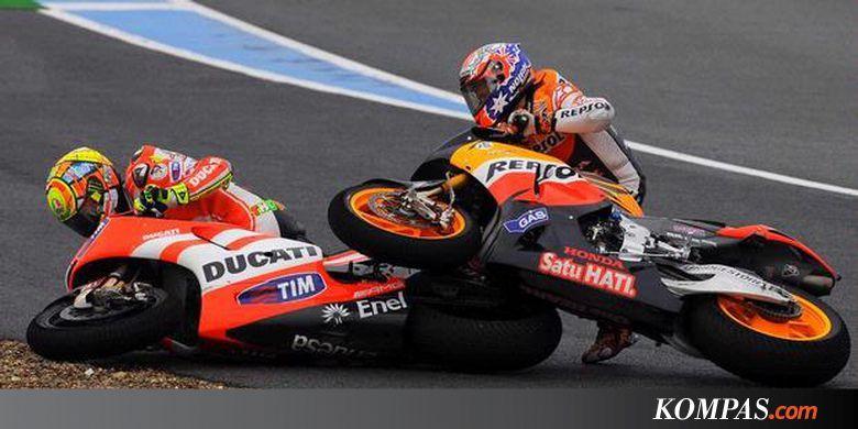 Insiden yang melibatkan Valentino Rossi dan Casey Stoner saat seri kedua Moto GP di Sirkuit Jerez, Spanyol tahun 2011.