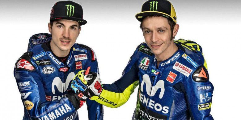 Dua pebalap tim Movistar Yamaha, Maverick Vinales dan Valentino Rossi.