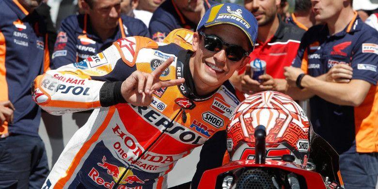 Marc Marquez berhasil meraih pole position saat sesi kualifikasi MotoGP Belanda di Sirkuit Assen, Belanda, Sabtu (30/6/2018).