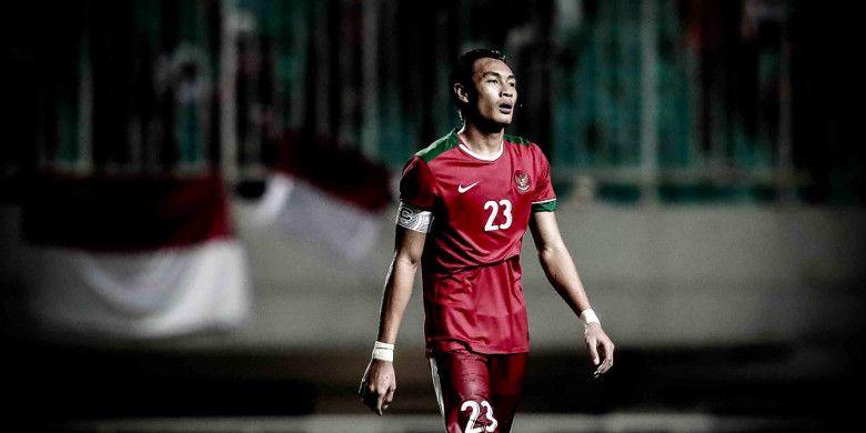Hansamu Yama dalam laga uji coba kontra Korea Selatan di Stadion Pakansari, Bogor, Sabtu (23/6/2018).