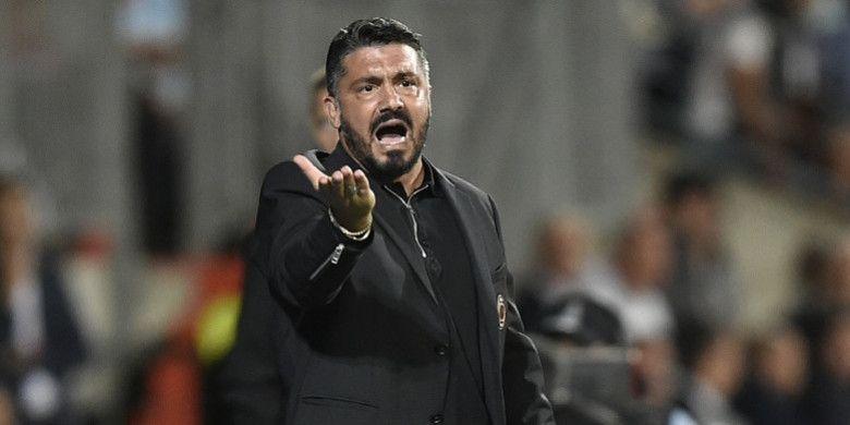 Ekspresi pelatih AC Milan, Gennaro Gattuso, dalam laga Grup F Liga Europa kontra F91 Dudelange di Stadion Josy Barthel, Luksemburg pada 20 September 2018.