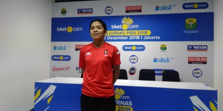 Gregoria Mariska Tunjung di Kejurnas PBSI 2018 di Britama Arena, Kelapa Gading, Jakarta, Jumat, (21/12/2018).