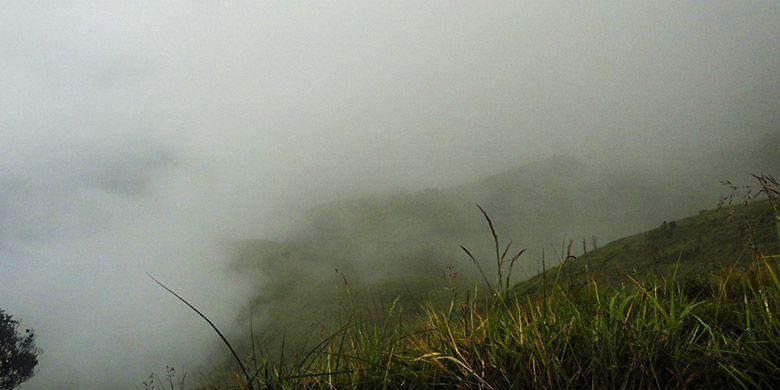 Kabut tebal yang menghalangi pandangan ketika di gunung.