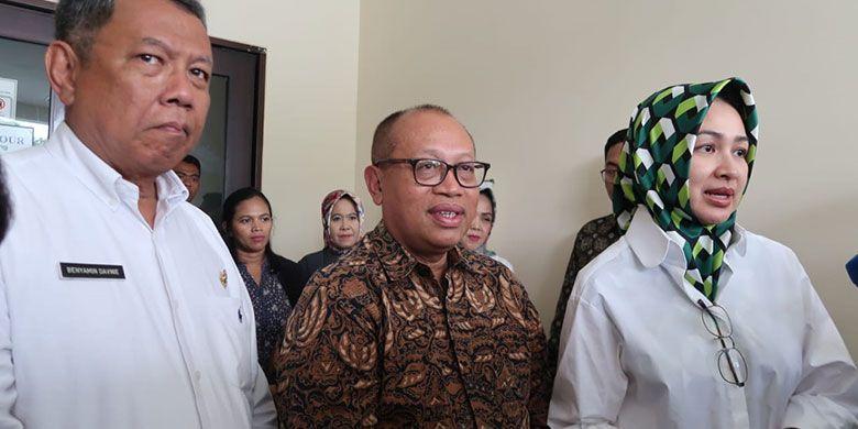 Benyamin Davnie Wakil Walikota Tangsel, Agus Susanto Dirut BPJS Ketenagakerjaan dan Airin Rachmi Diany Walikota Tangsel