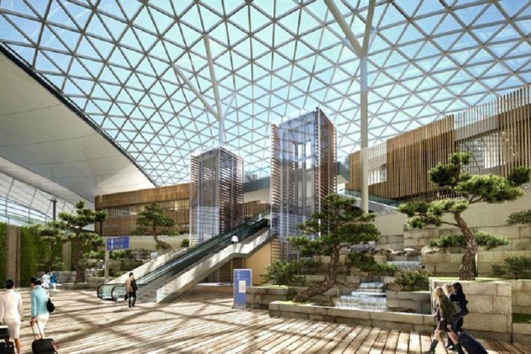 Atap Terminal 2 Bandara Incheon, Korea Selatan menggunakan panel surya untuk mengurangi konsumsi energi.