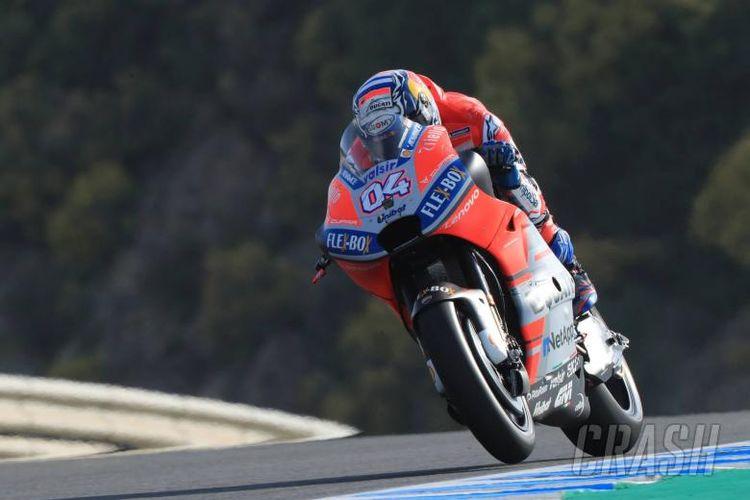 Pebalap Ducati Andrea Dovizioso saat menjalani sesi kualifikasi GP Spanyol di Sirkuti Jerez, Sabtu (5/5/2018).