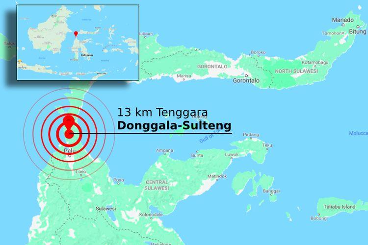 Lokasi gempa bermagnitudo 7,7 yang mengguncang Sulawesi Tengah, Jumat (28/9/2018).