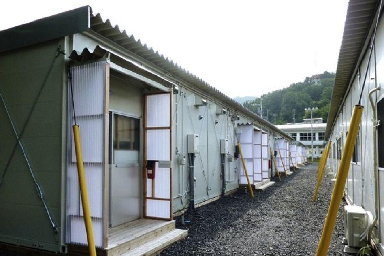 kasetsu , rumah sementara bagi korban bencana di Jepang.