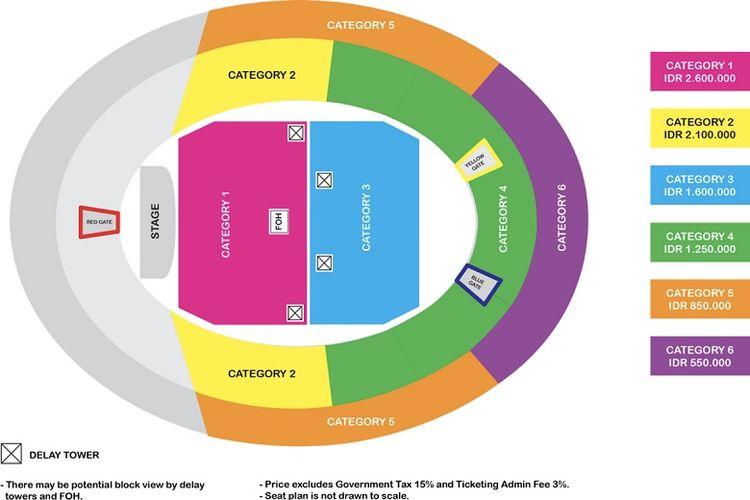Peta kursi konser Ed Sheeran di Jakarta.