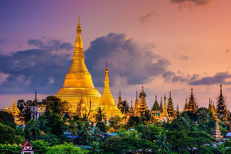 Pagoda Shwedagon di Negara Myanmar.