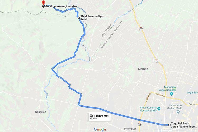 Rute menuju Bukit Gondopurowangi dari Kota Yogyakarta menurut Google Maps (22/07/2019).