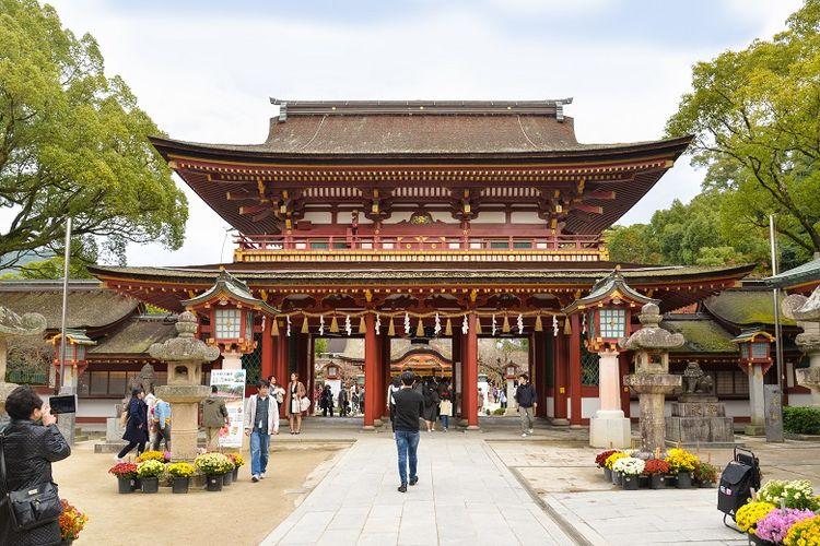 Ilustrasi wisata Dazaifu Jepang.