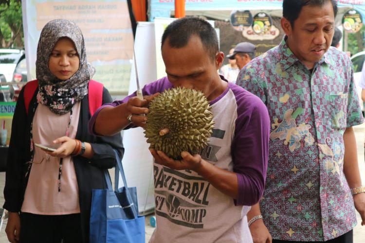 Mencium durian untuk mengetahui kematangan durian, di acara Wisata Durian, Minggu (25/11/2017).