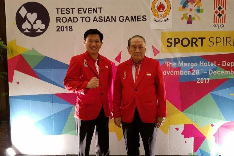 Ketua Umum PB GABSI, Ekawahyu Kasih bersama Ketua Dewan Pembina PB GABSI, Michael Bambang Hartono  di Margo Hotel, Depok, Jawa Barat dalam test event bridge menuju Asian Games, 28 November-5 Desember.