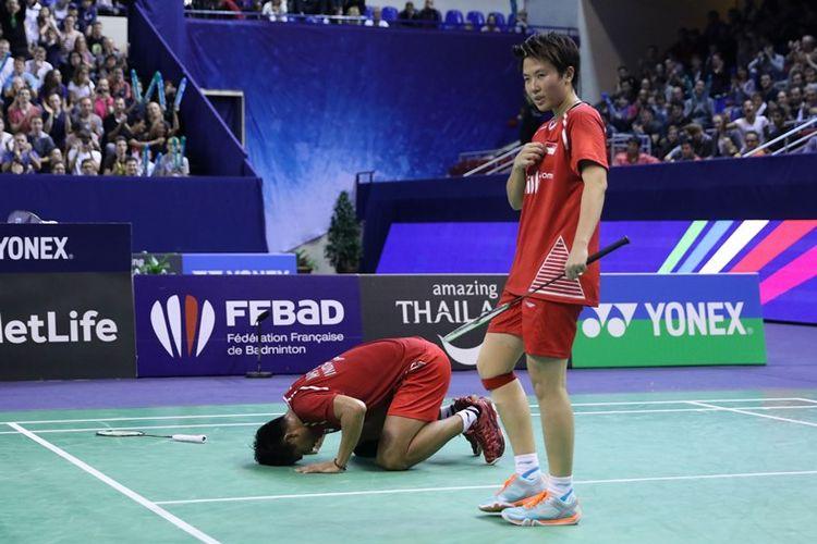 Tontowi Ahmad dan Liliyana Natsir bersykur atas keberhasilan menjuarai French Open Super Series 2017, Minggu (29/10/2017).