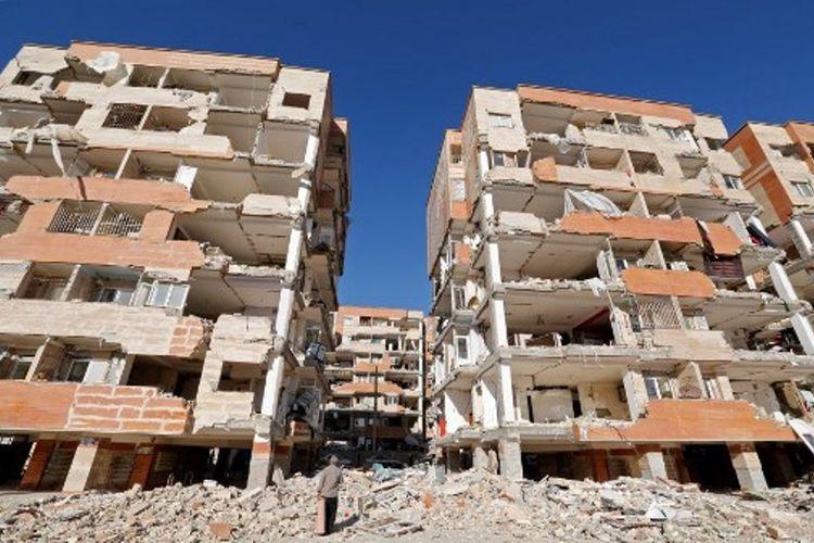 Bangunan yang hancur akibat gempa berkekuatan 7,3 skala richter di perbatasan Iran dengan Irak, Minggu (12/11/2017) lalu.