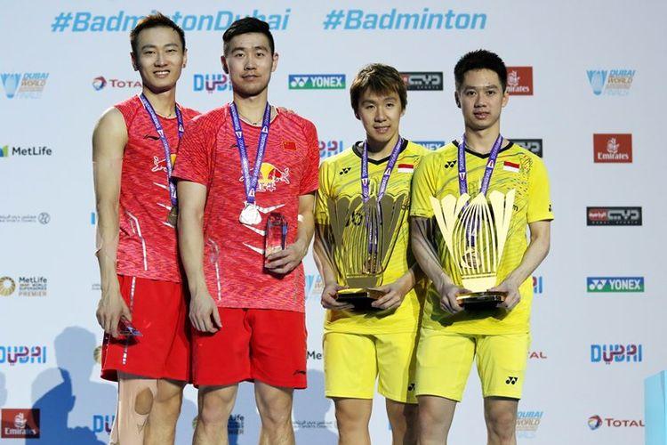 Kevin Sanjaya Sukamuljo dan Marcus Fernaldi Gideon menutup tahun 2017 dengan manis saat berhasil meraih gelar ketujuh tahun ini usai memenangkan BWF Dubai World Super Series Finals 2017 setelah di final meraih kemenangan atas Liu Cheng/Zhang Nan (Tiongkok) 21-16, 21-15.