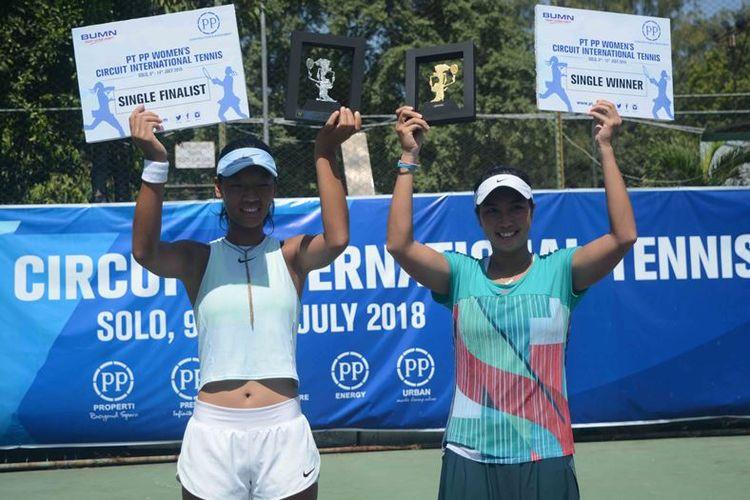 Petenis andalan Indonesia, Aldila Sutjiadi (23 tahun) keluar sebagai juara tunggal putri PT PP Women?s Circuit International Tennis 2018, Sabtu (14/07/2018) menghempaskan wakil Tiongkok, Zhima Du.