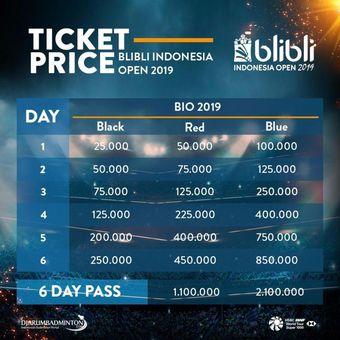 Daftar harga tiket BliBli Indonesia Open 2019