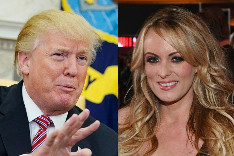 Presiden Amerika Serikat Donald Trump (kiri) dan Stormy Daniels, aktris porno yang mengaku mempunyai hubungan khusus dengan Trump.
