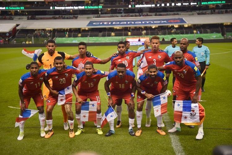 Skuad timnas Panama saat menghadapi Meksiko pada kualifikasi Piala Dunia 2018 di Mexico City, 1 September 2017.