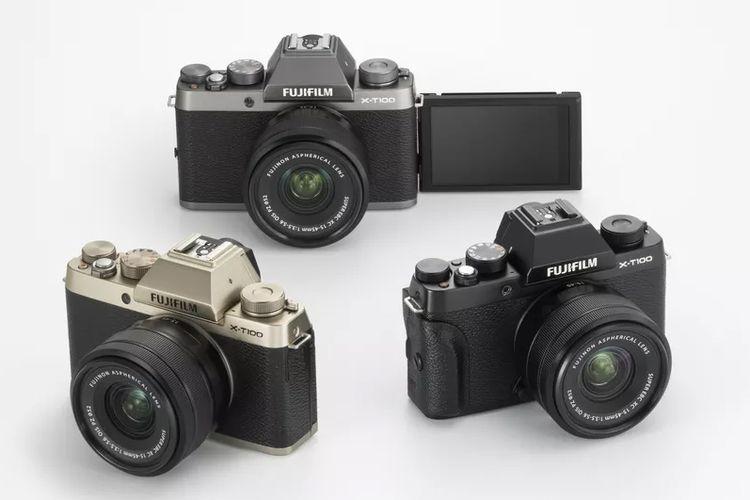 Fujifilm XT-100 ditawarkan dalam tiga pilihan warna, yakni Black, Dark Silver, serta Champagne Gold